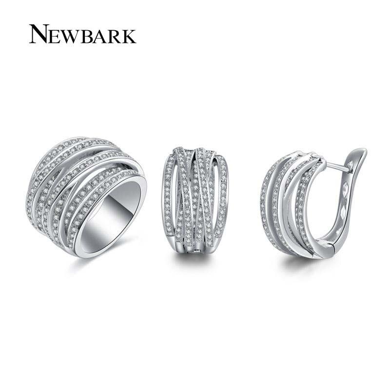 NEWBARK Neue Heiße Verkauf Modeschmuck Sets Für Frauen 1 stücke Silber Farbe Ring 1 Para CZ Multilayer Ohrringe Für weihnachten