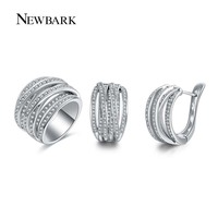 NEWBARK New Hot Sale Jewelry Sets For Women 1pcs White Gold Plated Silver Color Ring 1