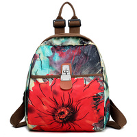 New Arrival Top Fashion Water Resistant Oxford Women Backpack Flower Printing Female School Rucksack Girls Daily College Bagpack