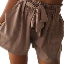 YJSFG HOUSE Fashion Womens Shorts High Waist Tie Belt Paper Bag Ladies Summer Casual Work Drawstring Sashes Home