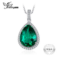 7 61ct Nano Russian Emerald Wedding Pendant Set Solid 925 Sterling Solid Silver Pear Cut 2015