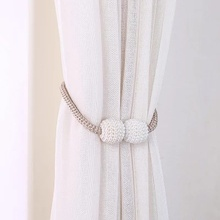 Curtain Tiebacks Clips-Accessory Buckle Pearl-Ball Home-Decor Magnetic 2pcs