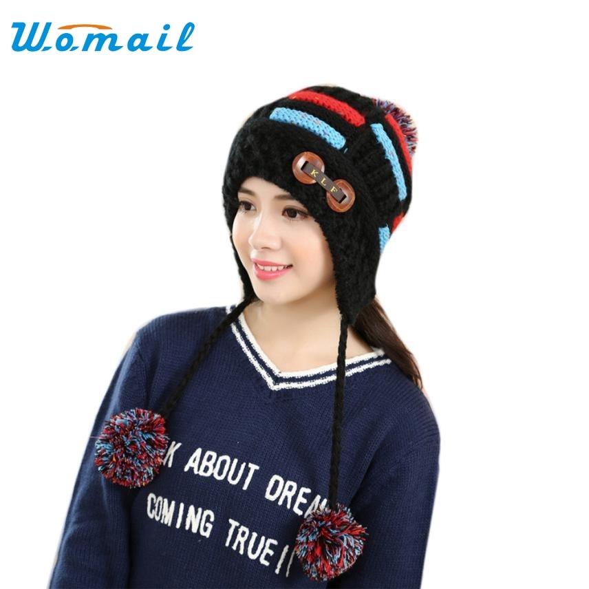 Skullies Beanies For Women Winter Warm Braided Crochet Wool Knit Hat Beret Ski Beanie Cap Warm Spring Autumn Hat Female WSep21 skullies