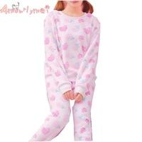 Japanese Style Mori Girl Lolita Sweet Cute Pink White Soft Fluffy Coral Velvet Sleepwear Suit Winter