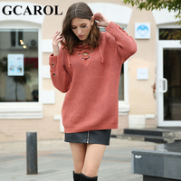 GCAROL New Arrival Autumn Winter Cross Tie Up V Neck Women Long Sweater Sleeve Metal Ring