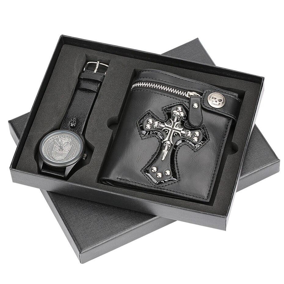 Cool Punk Style crâne en cuir portefeuille et montre-bracelet hommes cadeau boîte ensemble montres homme horloge mâle cadeaux pour père petit ami 2018 nouveau