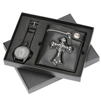 Cool Punk Style Skull Leather Wallet & Wrist Watch Men Gift Box Set Watches Man Clock Male Gifts for Father Boyfriend 2018 New
