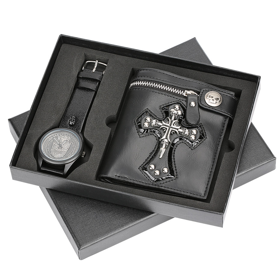 Quartz montre-bracelet étanche Punk pochette chaîne Rivets portefeuilles ensemble cadeau bande en cuir garçon petit ami papa mari cadeaux Relogio