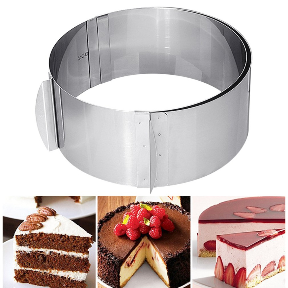 2018 New Adjustable Round Circle Shape High Strength Stainless Steel Cookie Mousse Cake Ring Mold DIY Kitchen Baking Cutter Mold