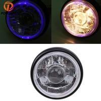 POSSBAY DC 12V Motorcycle Front Headlight Halogen Universal Headlamp For Honda Harley Yamaha BMW Angel Eyes Lights