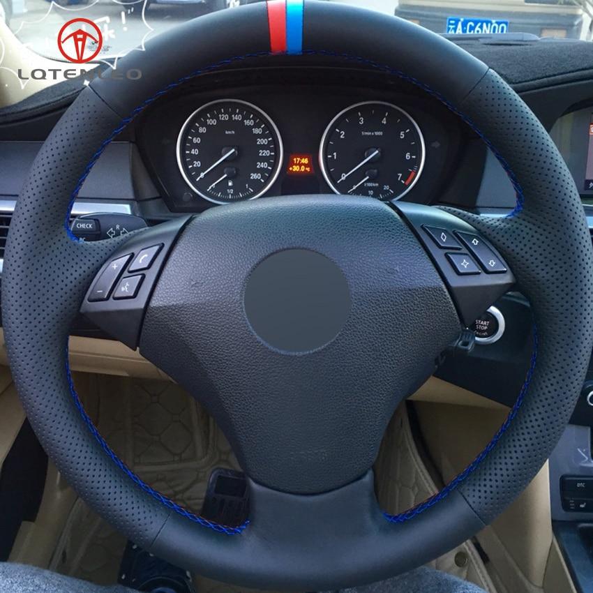 LQTENLEO Black Genuine Leather DIY Car Steering Wheel Cover for BMW E60 E61 520i 520li 523