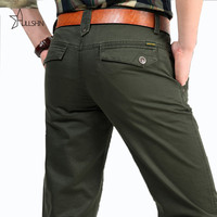 Army Green Jacket 100% Pure Cotton Men's Cargo Pants,Original Brand Real Men Overall Loose Trousers 2153