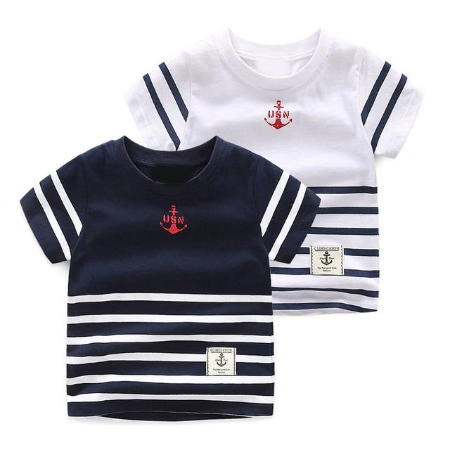 Meninos Tops de Verão estilo marinheiro Crianças camisetas Meninos Roupa  Dos Miúdos tarja Camiseta De Algodão 4c1c4e00f4457