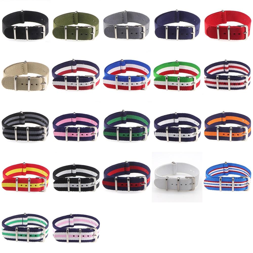 18mm 20mm  NATO Army Sports Brand Nylon Fabric Belt Accessories Belt Buckle Bands 007, James Bond. Black 20mm Watch Strap