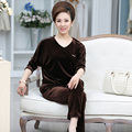 3 Color Velvet Sets Women New Spring And Autumn V-collar Middle-aged  Plus Size Hedging Solid Tracksuit Casual Sets J376