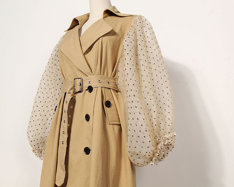 [EAM] 19 New Spring Lapel Long Puff Sleeve Sashes Dot Mesh Stitching Loose Long Windbreaker Women Coat Fashion JH394 9
