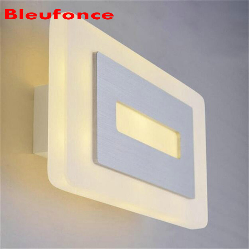 Modern 8W LED Acrylic Wall Lamp Bedroom Bedside Living room Hallway Stairwell Balcony Aisle Balcony Lighting AC85-265V HZ67 2016 new modern fashion free shipping multi color acrylic sunflower led wall lamp for bedroom hallway corridor