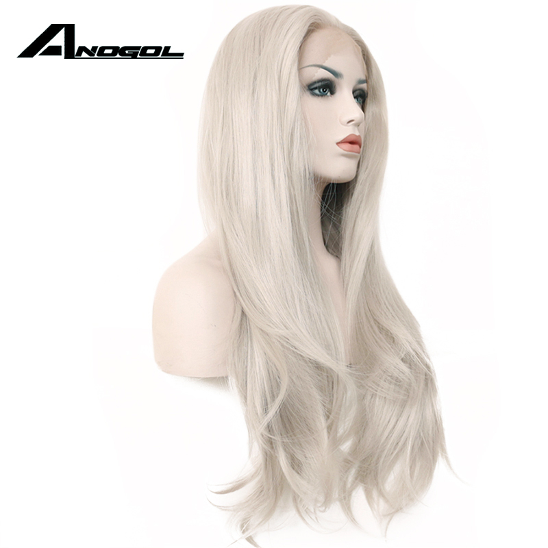 Image 3 - Anogol High Temperature Fiber Silver Grey Long Natural Wave 360 Frontal White Wigs Synthetic Lace Front Wig For Women Cosplay-in Synthetic None-Lace  Wigs from Hair Extensions & Wigs