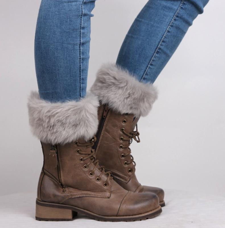 女性冬のレッグウォーマー女性編みニットフェイクファートリム脚ブーツ靴下トッパーカフス