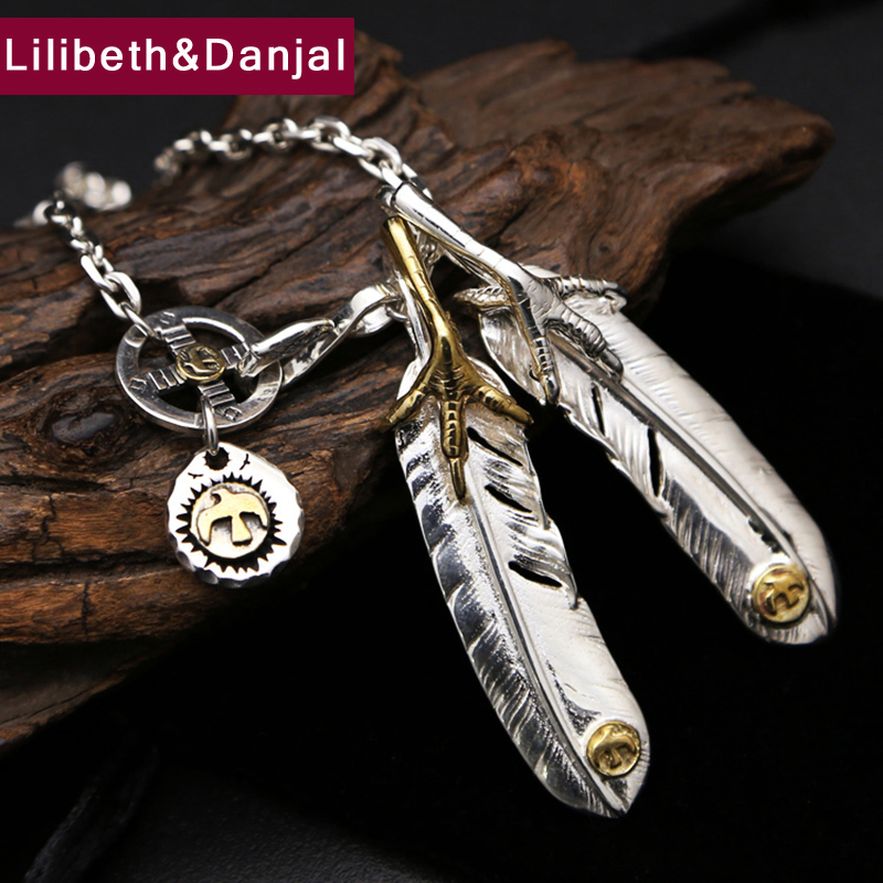 2017 New 925 Sterling Silver Necklace Men Jewelry Eagle Claw Feather chain Pendant Necklace women Gift Fine Jewelry N11 boeycjr yoga jewelry meditation wood necklace chain handmade jewelry ethnic pendant necklace for men and women gift 2018
