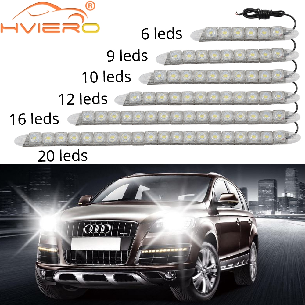 Safego 12V 14CM COB White Car LED Lights for DRL Fog Driving Lamp