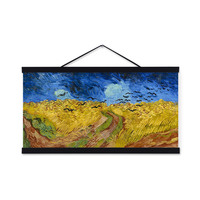 Van Gogh Yellow Wheat Field Crows Black Wooden Framed Famous Canvas Oil Painting Living Room Hotel Decor Wall Hanging Pictures