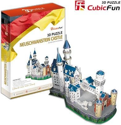 Freeshipping! Neuschwanstein Castle,Cubic Fun 3D Jigsaw Puzzle,3D paper model,DIY puzzle,Best Educational toys for kids MC 062H