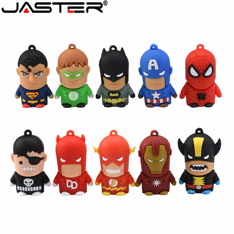 Nuevo Super héroe de dibujos animados USB Flash Drive 8GB 16GB 32GB 64GB Hombre de Hierro de memoria Flash Batman pendrive Capitán América Pen Drives