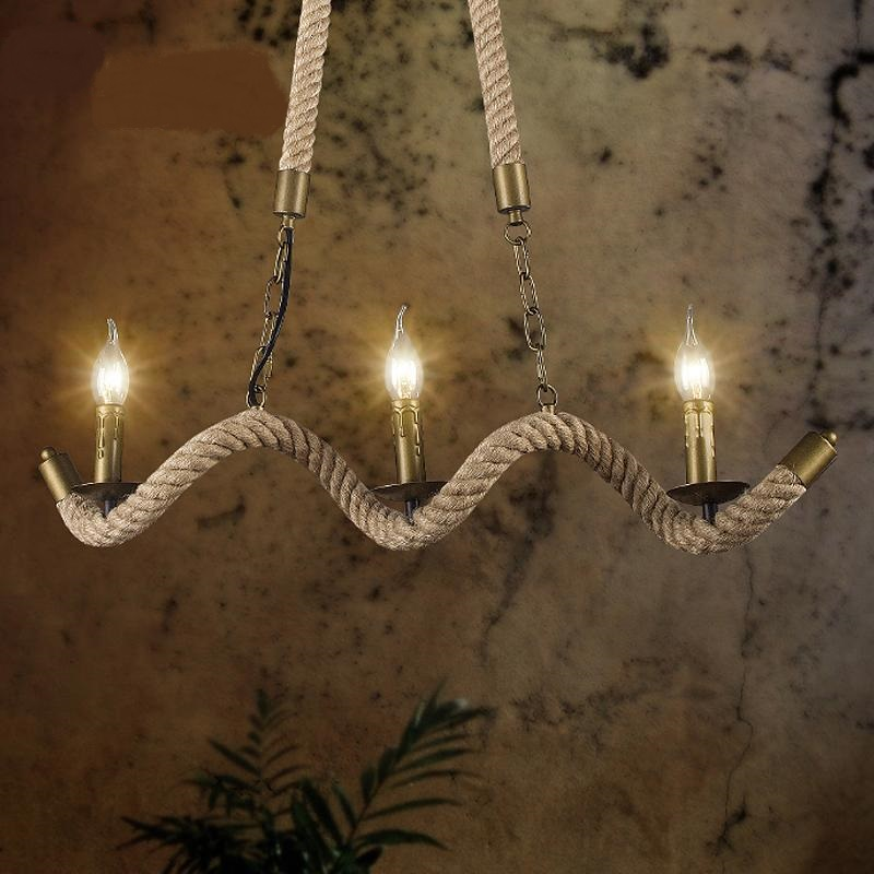 American country Vintage Iron Pendant Lights rope creative personality 3 Garden restaurant cafe bar Pendant lamp ta101710 retro industry country vintage linen glass ball pendant lights creative personality restaurant bar cafe linen pendant lamp zzp