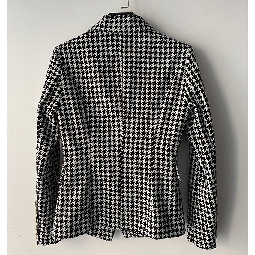 HIGH STREET Stylish 2020 Runway Blazer Women s Double Breasted Lion Buttons Houndstooth Career Blazer Jacket