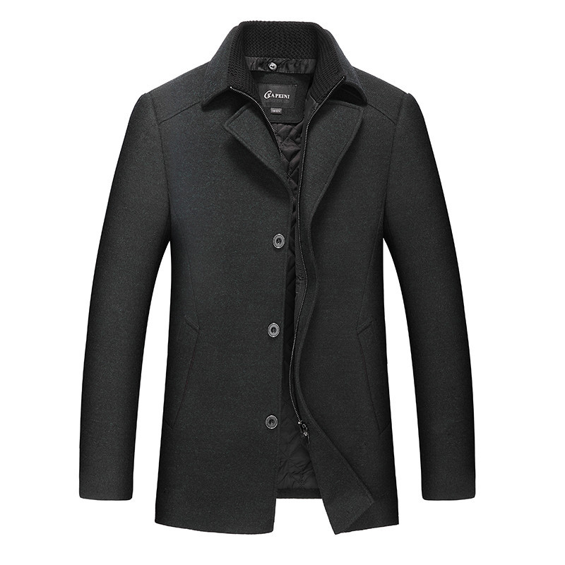 Plus size 8XL 7XL Jackets Coats Single Breasted Casual Mens Wool Blend Jackets Full Winter For