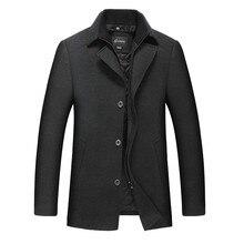 Большие размеры 8XL 7XL куртки и пальто Однобортный Повседневное Мужские полушерстяные куртки Полный зимой для мужчин шерстяное пальто большие размеры