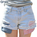 Summer new arrival women's fashion denim shorts Hole ripped jeans Vintage stripe and dot pocket shorts Free shipping