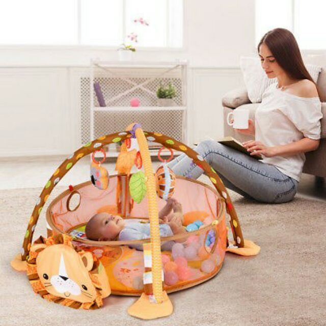 3 en 1 bébé tapis de jeu rond tortue Lion ramper couverture infantile tapis de jeu tapis de jeu enfants tapis d'activité Gym pliant Tapete Infantil - 3