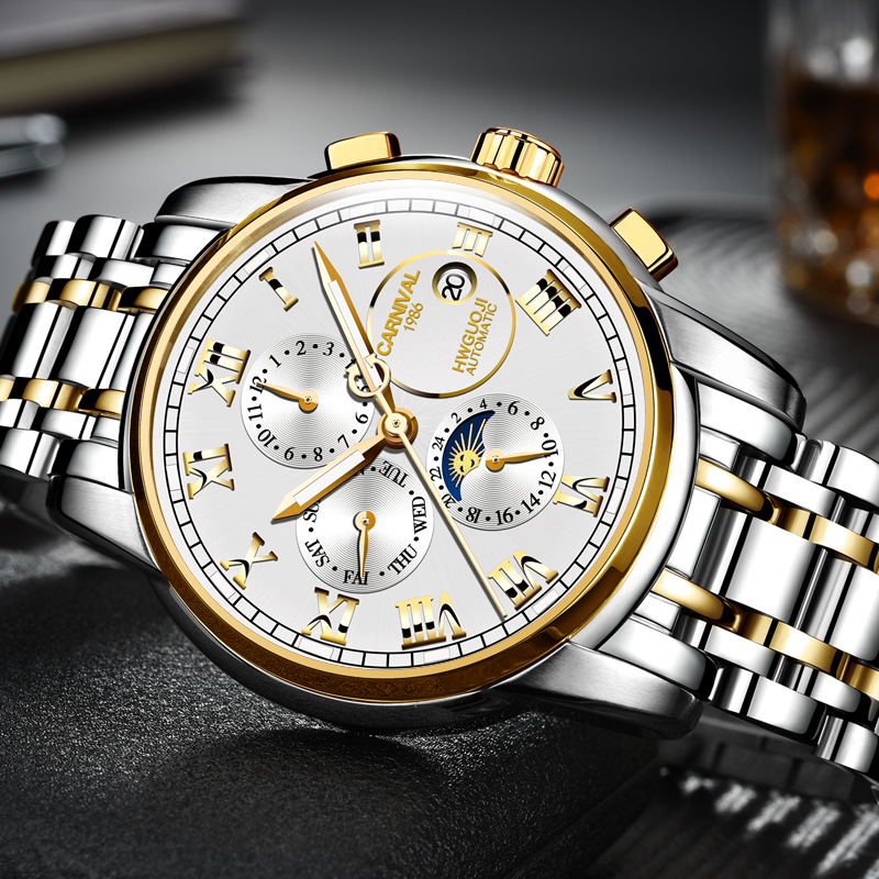 Carnival Mechanical Watch Men Phase Moon Clock Luminescence Japan Miyota 25 Jewels Steel Day-Date Multi-Function Stainess Steel