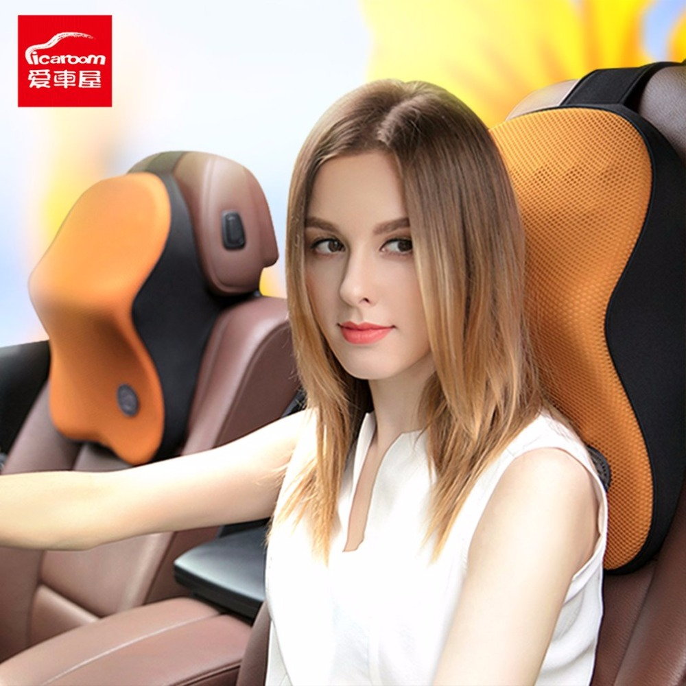 Icaroom Car Seat Head Neck Pillow Space Memory Foam Massage Cushion Support Rest Cover Universal