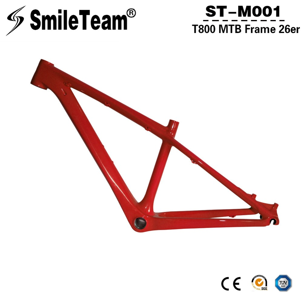 T800 26er MTB Carbon Frames Carbon Bicycle Mountain Frames, Full Carbon Bike 26er Frame with 14 Small Size New Design Color smileteam new 27 5er 650b full carbon suspension frame 27 5er carbon frame 650b mtb frame ud carbon bicycle frame