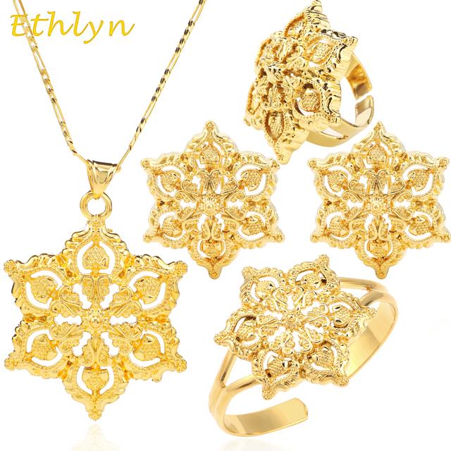 Ethlyn Big Flower Gold Plated  Ethiopian Jewelry set Pendant/Earring/Ring/Bangle Jewelry Eritrea Habesha African Wedding S037