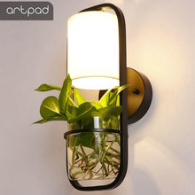 цены Artpad Europe Designer Wall Lamp Fabric Sconces AC110V-220V E27 LED Wall Lights for Home Lighting with Watering Plant Glass Pots
