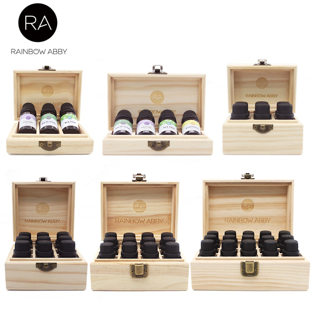 3/4/6/9/12/15 Grids Wooden Essential Oil Natural Pine Wood Aromatherapy Boxes 5-15ml For Home Decor Handmade Crafts