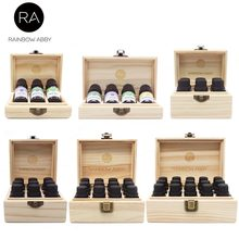 3/4/6/9/12/15 Grids Wooden Essential Oil Natural Pine Wood Aromatherapy Boxes 5-15ml For Home Decor Handmade Crafts(China)