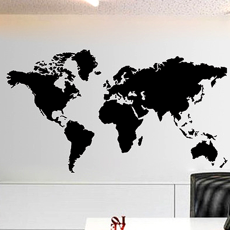 Large size black world map wall stickers removable vinyl decal mural large size black world map wall stickers removable vinyl decal mural modern style home decor wall stickers for sofa background in wall stickers from home gumiabroncs Gallery