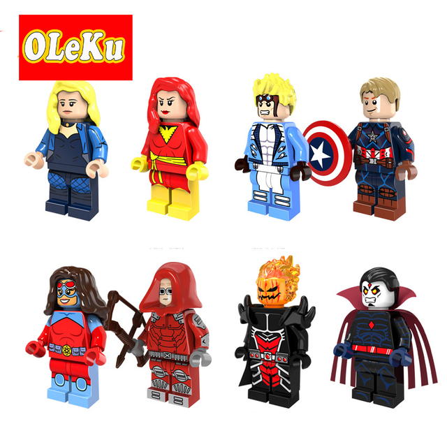 For legoing Super Heroes Figures X-Men Black Canary Dormammu Dark Phoenix Captain America Cannonball Bricks Building Blocks Toys