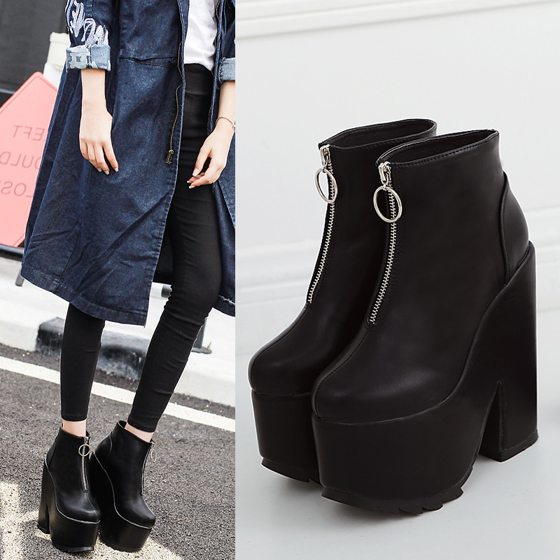 Europe 2016 new winter British style women shoes black high chunky platform heels booties motorcycle marten ankle boots