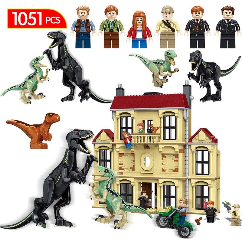 1046 pcs Monde Jurassique Dinosaure Compatible LegoINGlys 75930 Indoraptor Saccage À Lockwood Immobilier Building Block Jouets Pour Garçon