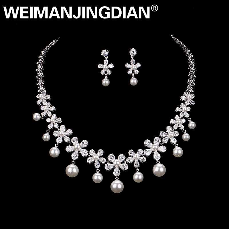 WEIMANJINGDIAN Flower Cubic Zirconia and Imitation Shell Pearl Necklace Earring Jewelry Set for Wedding or Mother's Day Gift