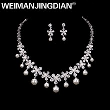 WEIMANJINGDIAN Flower Cubic Zirconia and Imitation Shell Pearl Necklace Earring Jewelry Set for Wedding or Mother's Day Gift(China)