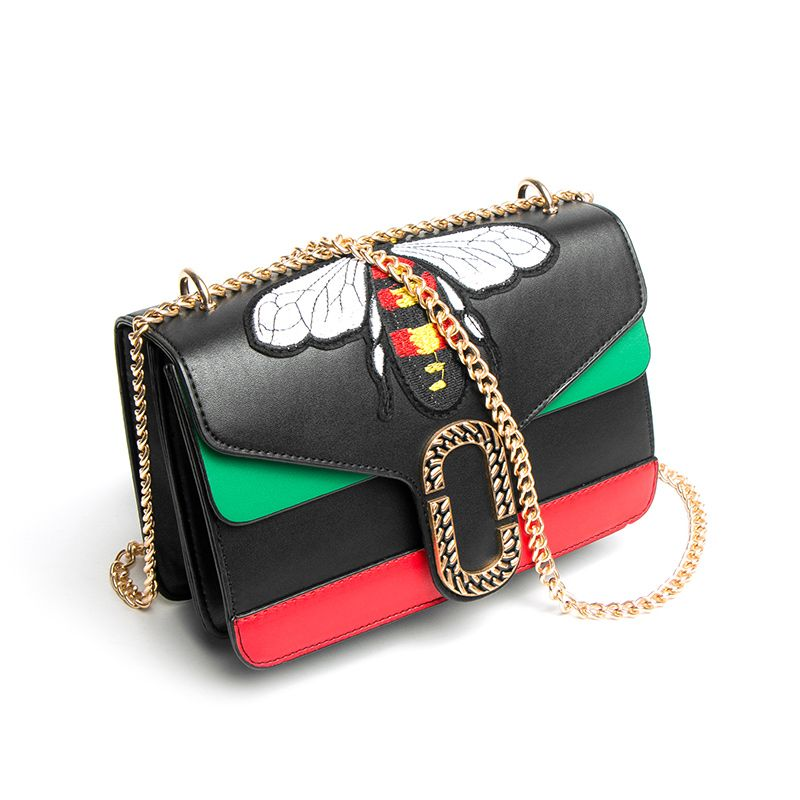Luxury Brand Bag Women Gold Chain Shoulder Bags Embroidery Bee Bag Crossbody Bags Famous Design Female Flap Handbags Bolsas Sac