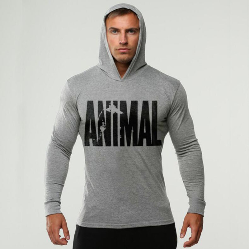 Brand Clothing ANIMAL printed Long Sleeve Slim Fit Hooded   T     Shirt   Men Cotton Tee   Shirt   Bodybuilding and Fitness Sportwear TShirt