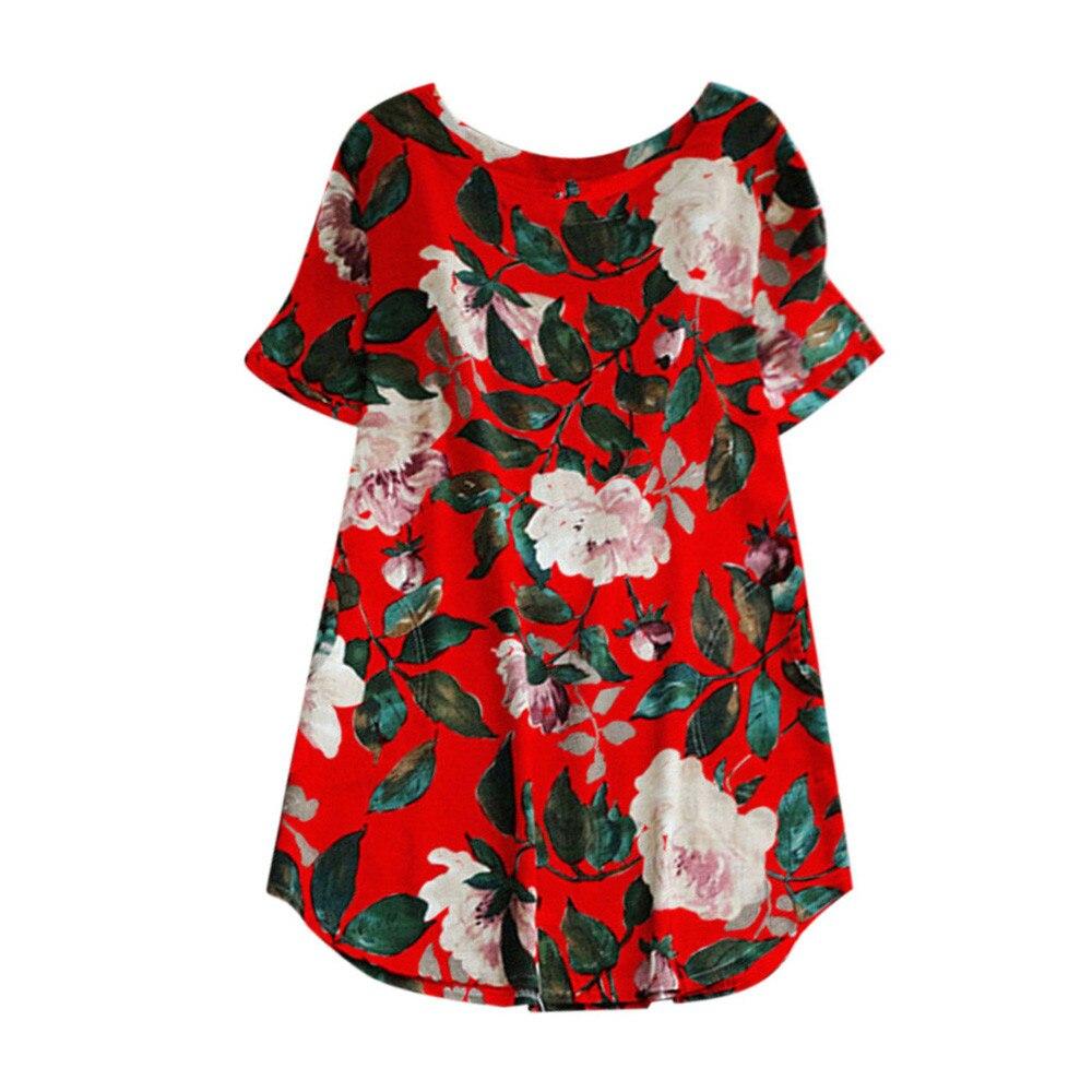 vestido de mujer Women Lady Floral Print Mini Dress Summer Party Short Sleeve Dress Plus Size